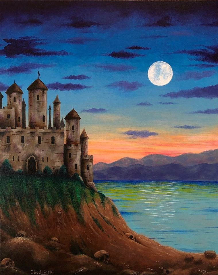 """Castle Island"" Castle on an Ocean Island with Sunset Artwork Poster Print by Gregg's Deep Colors"