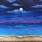 """Ocean Moon"" Tropical Evening Beach Scene Art Poster Print by Gregg's Deep Colors"