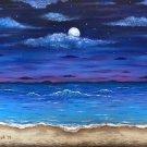 """Ocean Moon"" Tropical Evening Beach Scene Art Poster Print by Gregg's Deep Colors"