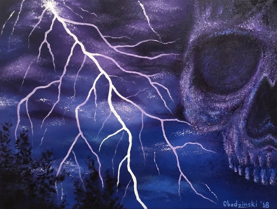 """""""Electric Sky"""" Skull forming in an Electrical Storm Fantasy Art by Gregg's Deep Colors"""