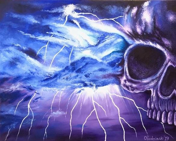 """Electric Sky II"" Skull forming in an Electrical Storm Artwork by Gregg's Deep Colors"