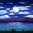 """Full Moon"" Evening Ocean Scene with Full Moon Artwork by Gregg's Deep Colors"