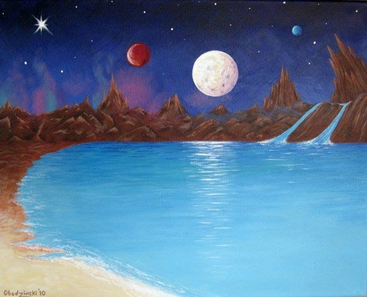 """Out of this World"" Fantasy Space Scene with Planets and Moons"