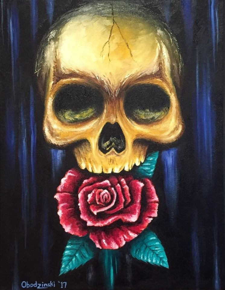 """Solid Gold"" Skull with a Rose Artwork by Gregg's Deep Colors"