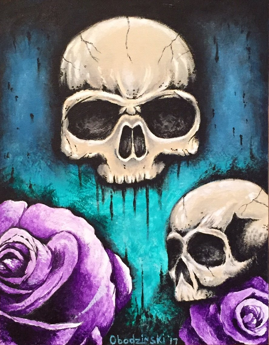 """""""Skulls with Roses"""" Two Skulls with two pink Roses Artwork by Gregg's Deep Colors"""