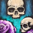 """Skulls with Roses"" Two Skulls with two pink Roses Artwork by Gregg's Deep Colors"