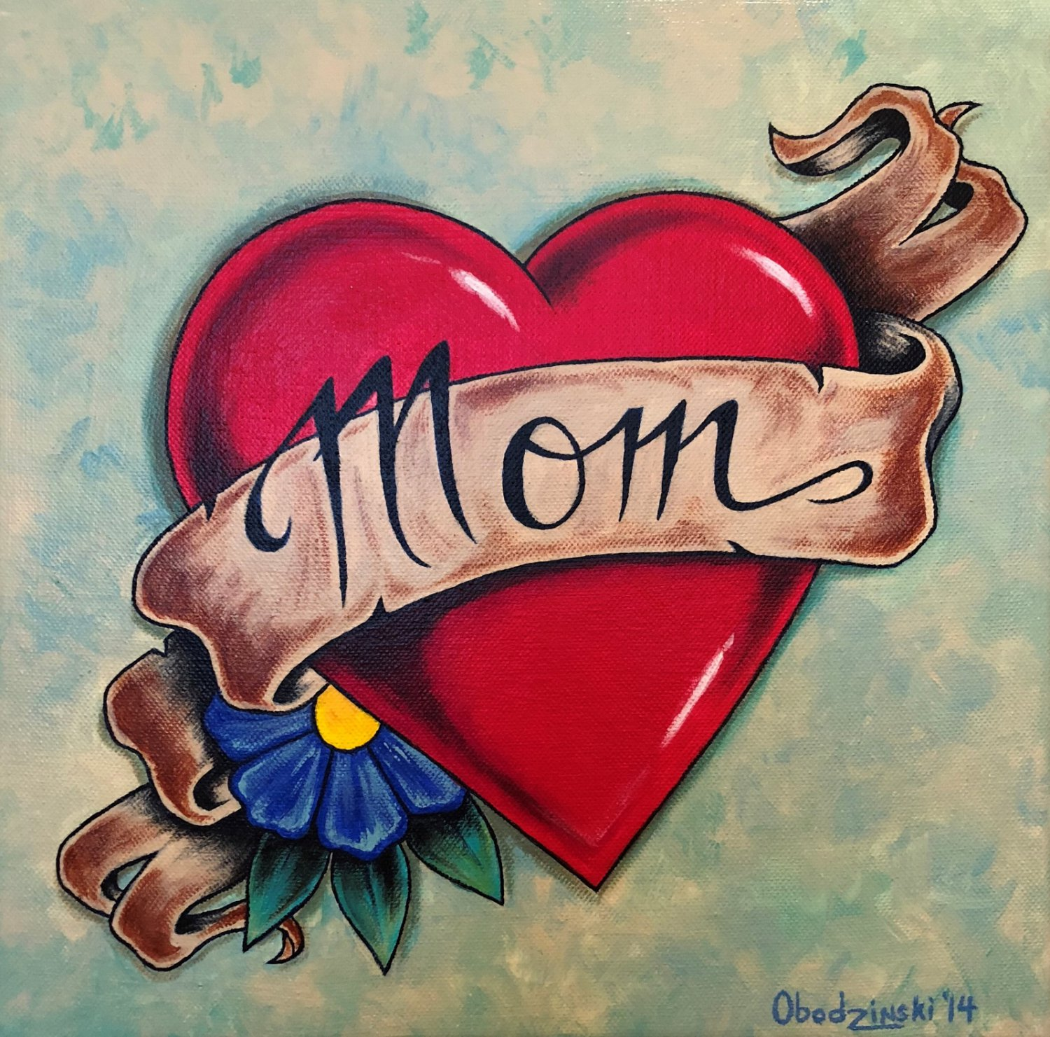 """""""Mom and Dad'' Tattoo Style Heart with Ribbon Artwork by Gregg's Deep Colors"""
