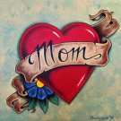 """Mom and Dad'' Tattoo Style Heart with Ribbon Artwork by Gregg's Deep Colors"