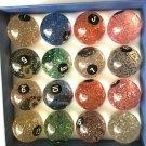 Original Taiwan 57.2mm Billiards Pool Balls Transparent with Glitter Balls