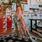 Fitshinling Oversize Beach Cover Up Kimono Vintage Print Floral Holiday Bikini