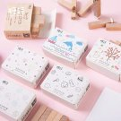 12pcs/lot Cute animal plants girl decoration stamp wooden rubber stamps for