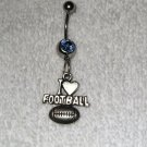 I Heart Love Football Belly Button Navel Ring Body Jewelry Piercing Sports