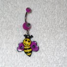 Cute Purple Yellow Bee Belly Button Navel Ring Body Jewelry Piercing