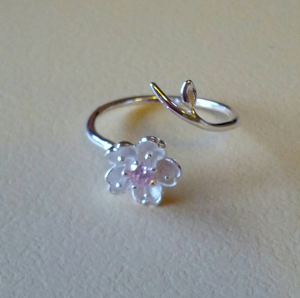 925 sterling silver adjustable cherry blossom ring
