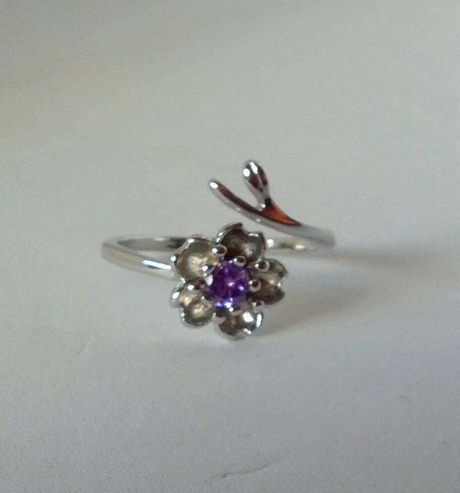 925 sterling silver purple cherry blossom adjustable ring
