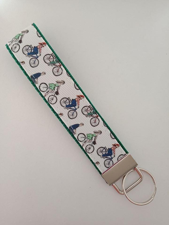 Bicycle print key fob wristlet
