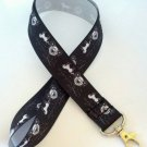 Black and white horse and carriage lanyard / ID holder / badge holder