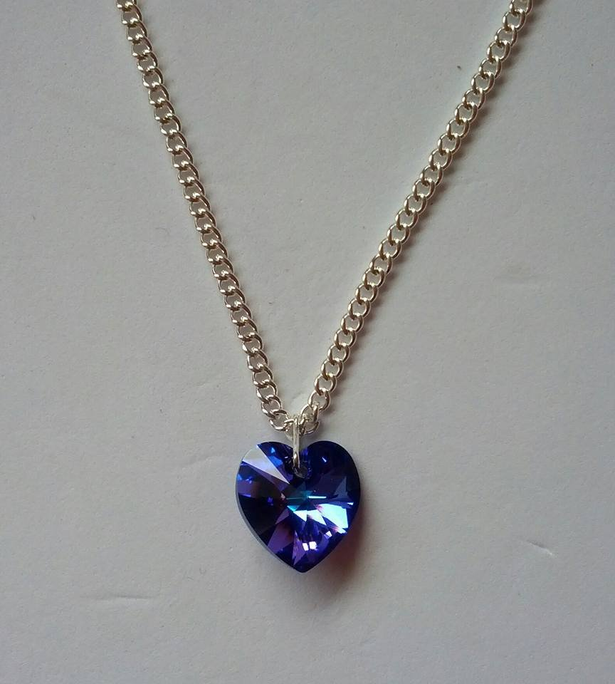 Blue AB crystal heart necklace