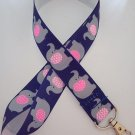 Blue and pink elephant lanyard / ID holder / badge holder