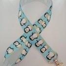 Blue and white penguin print lanyard / ID holder / badge holder