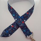 Blue music note lanyard / ID holder / badge holder