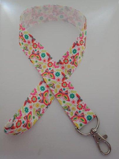 Bright butterfly print lanyard / ID holder / badge holder