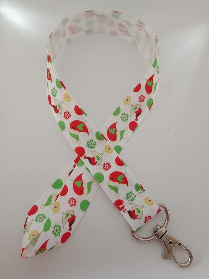 Christmas bird lanyard / ID holder / badge holder