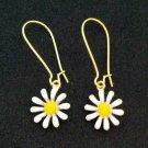 Gold and white daisy / flower earrings