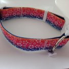 Tropical flower rainbow adjustable dog collar medium