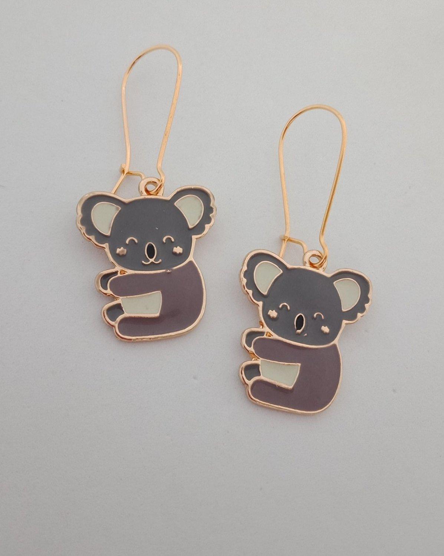 Gold enamel koala charm earrings