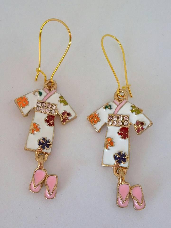 Asian style gold white flower enamel kimono charm earrings