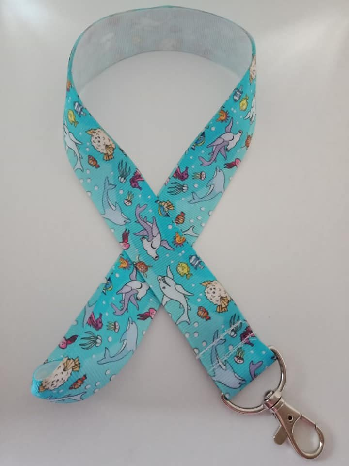 Light blue shark print lanyard / ID holder / badge holder