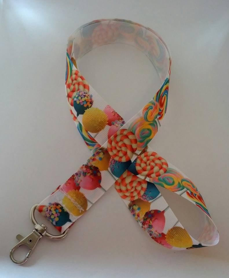 Lollypop / candy print lanyard / ID holder / badge holder