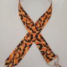 Orange and black bat / Halloween lanyard / ID holder / badge holder