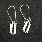 Silver razor blade charm Gothic / punk earrings
