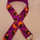 Purple and orange witch / Halloween lanyard / ID holder / badge holder