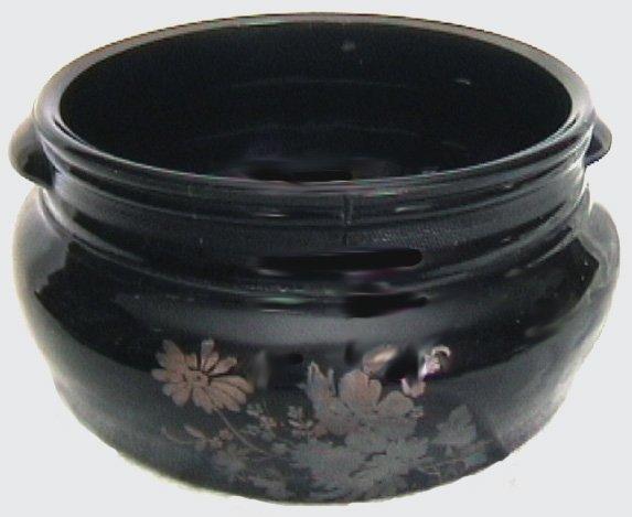 Black purple amethyst large planter silver flowers vintage