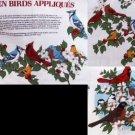 Cranston prints Garden Birds fabric appliques cardinals blue jays plus