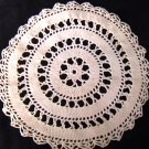"Vintage doily hand crocheted 9"" circle dark ecru bedspread weight cotton"