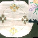 "Silk embroidered linen table cover 21"" diameter crocheted edge"