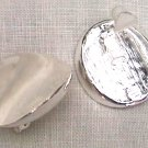 Avon jewelry earrings silver tone convex ovals spring clip on jewelry