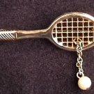 Avon pin ladies tennis racket faux pearl jewelry