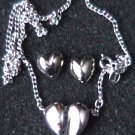 Avon Valentine jewelry set silver heart necklace and stud earrings