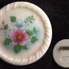 Avon pin ceramic cream colored flower center MIB c1980 jewelry
