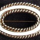 Monet white enamel gold tone oval pin brooch jewelry
