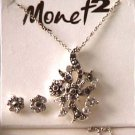 Monet demi parure black & clear rhinestones necklace & stud earrings
