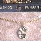 Necklace initial G gold tone pendant with rhinestones MIB jewelry
