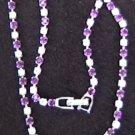 Necklace purple & clear rhinestones V center