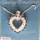 Sterling heart necklace rhinestones & black stones MIB jewelry