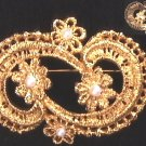 Dauplaise signed gold tone pin faux pearls vintage broach jewelry